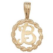 9ct Gold Round rope edged Initial letter B pendant 0.8g
